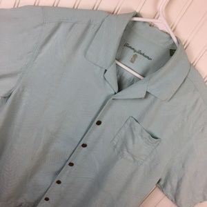 Tommy Bahama Camp Shirt Silk Mint Green Casual
